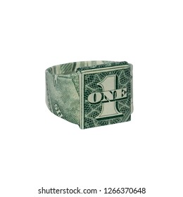 Money Origami 1 RING Folded with Real One Dollar Bill Isolated on White Background