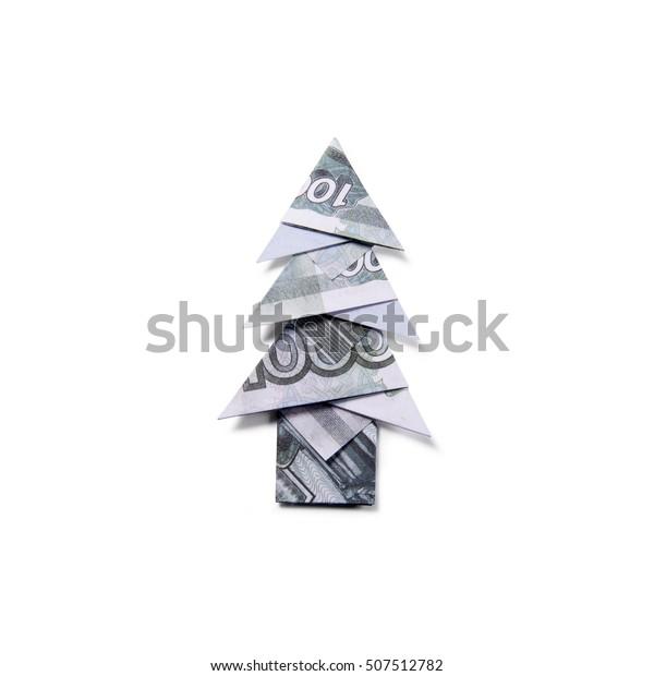 Money Origami Christmas tree Stock Photo - Alamy | 620x600