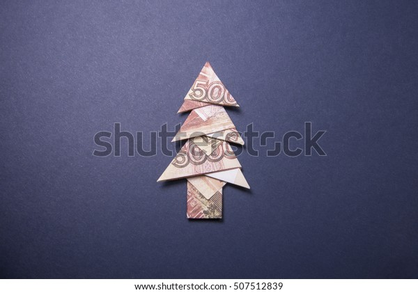 Lot of 2 CHRISTMAS TREES Money Origami Xmas Fir Real One Dollar ... | 421x600