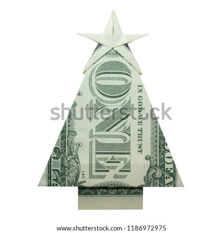 Money Origami CHRISTMAS TREE Folded with Real One Dollar Bill Isolated on  White Background - Money Origami CHRISTMAS TREE Folded Real Stock Photo (Edit Now