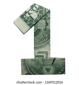 Money Origami DIGIT 1 Number Folded with Real One Dollar Bill Isolated on White Background