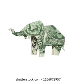 Money Origami ELEPHANT Folded with Real One Dollar Bill Isolated on White Background