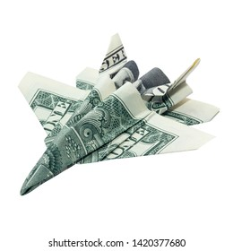 Money Origami F-18 Hornet Jet Fighter Folded with Real One Dollar Bill Isolated on White Background