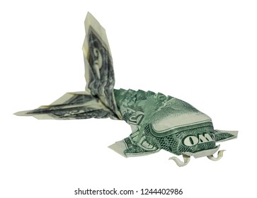 Money Origami KOI FISH Folded with Real Two Dollars Bill Isolated on White Background