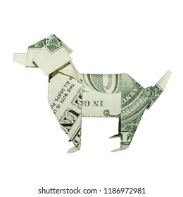 Money Origami Left Side DOG in Profile Folded with Real One Dollar Bill Isolated on White Background