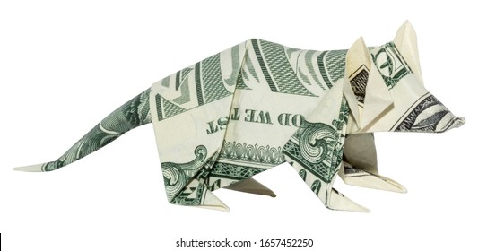Money Origami Rat Chinese Zodiac 2020 Folded with Real One Dollar Bill Isolated on White Background