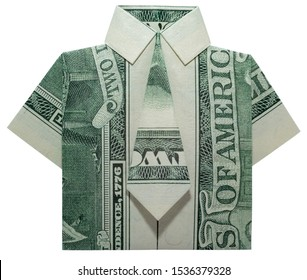 Money Origami SHIRT with TIE Made of Real TWO Dollars Bill Isolated on White Background