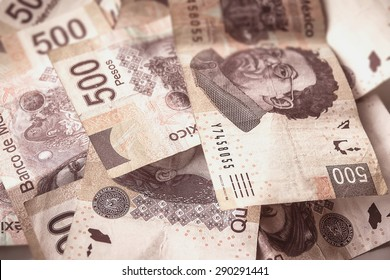 Money over the table, mexican pesos bills