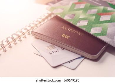 Money, Passport, Map, Cell phone, travel plan concept.