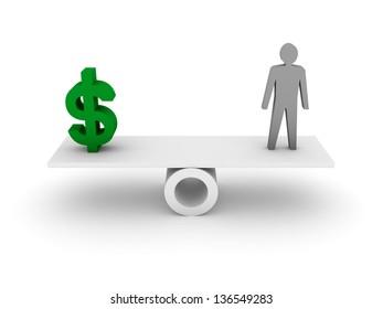 Money and Person balance. Concept 3D illustration.