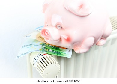 Money and piggy bank on a radiator symbolizes the expensive heating costs.