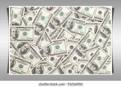 Money Pile $100 dollar bills, frame