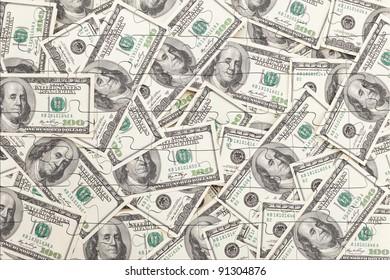 Money Pile $100 dollar bills, puzzle