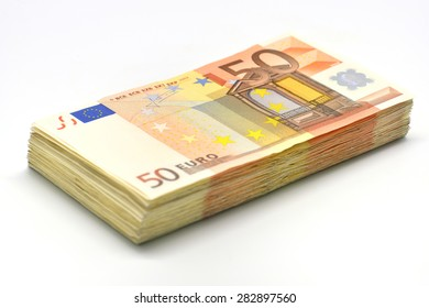 Money pile of 50 Euro banknotes isolated in white