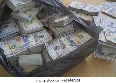 Money in plastig bag