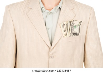 the money is in the pocket of the suit isolated on white background