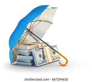 Money protection and financial security concept, stack of bundles of dollar bills under blue umbrella isolated on white, 3d illustration
