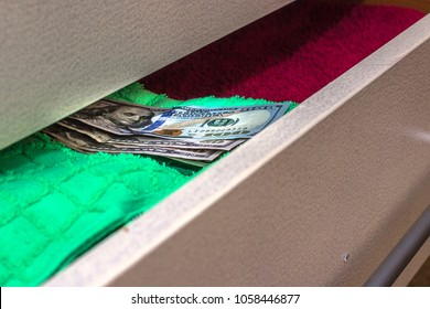 money put on to keep a stash in the chest of drawers