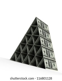 Money pyramid with dollar (computer generated image)