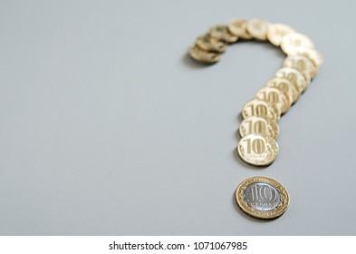 Money question. Ruble Coins question mark. Element of finance design.