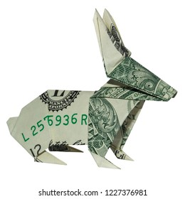 Money RABBIT Origami Easter Bunny Folded Hare Real One Dollar Bill Isolated on White Background
