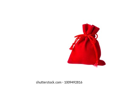 Money in Red bag for Chinese New Year on white background