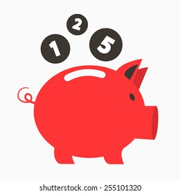 Money Red Pig Bank with Coins