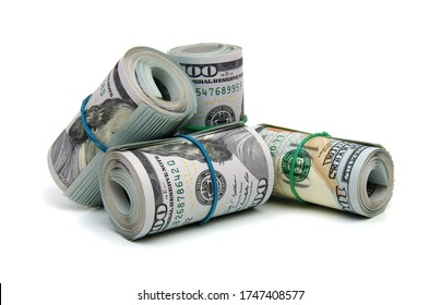 money roll dollars isolated on the white background
