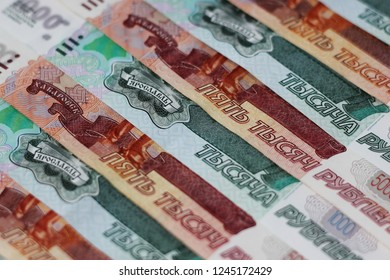 Money Russian banknotes dignity five thousand, two thousand, thousand, two hundred rubles background