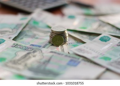 Money, Russian rubles,  coins laid out on the table