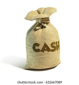 Money sack cash 3d rendering
