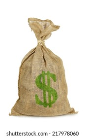money sack with dollar sign isolated on white