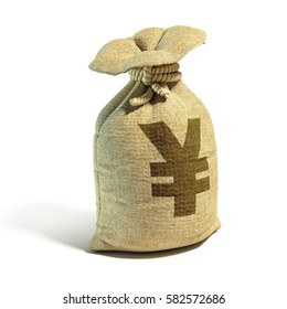 Money sack full of yens - yuan with yen - yuan sign 3d rendering