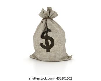 Money Sack on White Background - High Quality 3D Illustration/Rendering