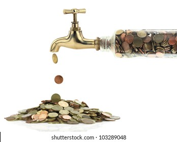 Money save coins fall out of the golden tap