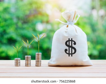 Money saving and money bag with coin stack growing business.