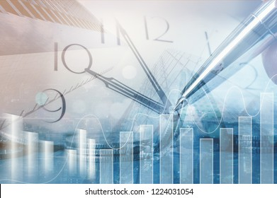 Money saving, finance and business investment, risk management concept. Double exposure business man analyzing economic trend, rows of coins and buildings in the city.