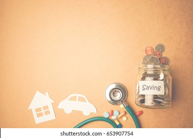 money saving for house, car, investment, health and insurance