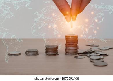 Konzept für Geldsparen und Investitionen