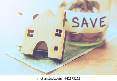 Money saving for new home design,business or construction concept.