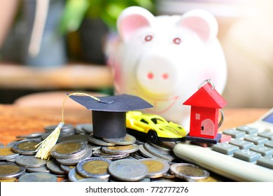 money saving pile on table for concept debt loan finance basic life educations ,car and house
