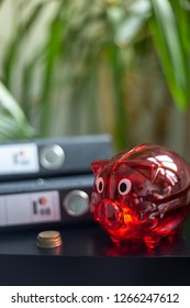 Money saving tactics with red piggy bank, Portrait