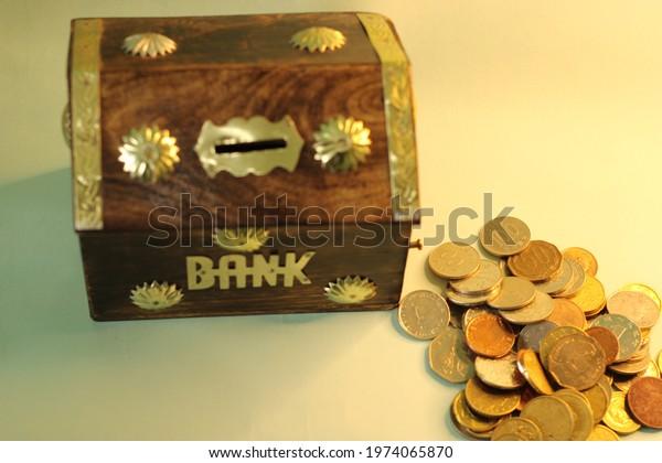 Money savings concept. Young boy savings money for future concept. Financial. Money grow in bank. Save money for future.