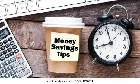 Money savings tips business text concept.