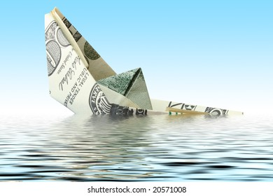money ship wreck in water