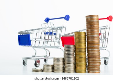 Money shoping growing with white background.