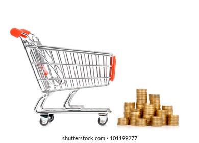 Money and shopping cart on a white background