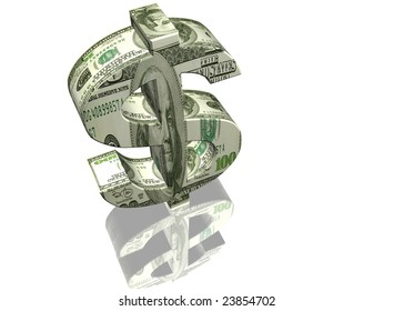 Money sign of dollar on a white background