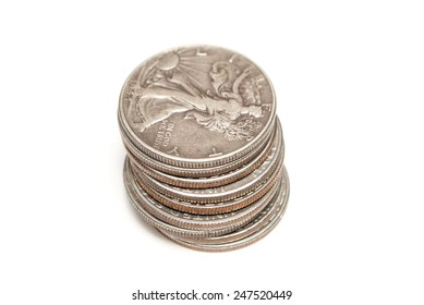 Money, Silver Coins, Dollar and Half Dollar