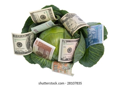 money situated on green cabbage isolated on white